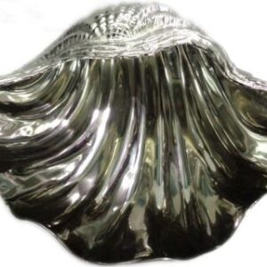Ottopode Large glass and polished aluminium bowl